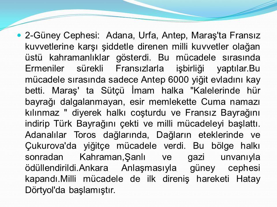 2-Güney Cephesi: Adana, Urfa, Antep, Maraş ta Fransız kuvvetlerine karşı şiddetle direnen milli kuvvetler olağan üstü kahramanlıklar gösterdi.