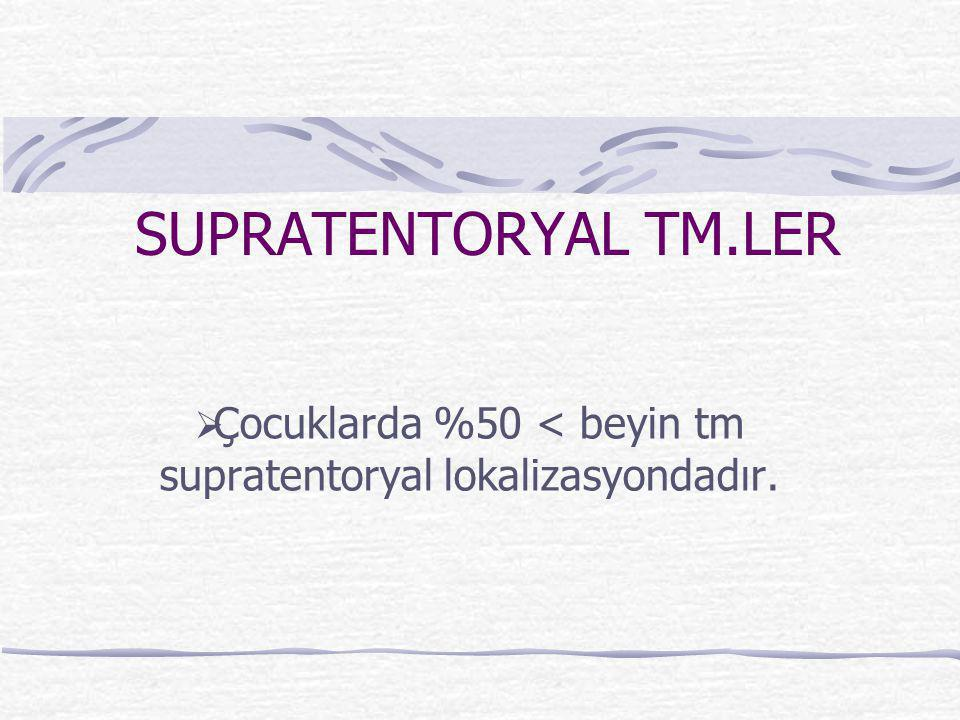 Çocuklarda %50 < beyin tm supratentoryal lokalizasyondadır.