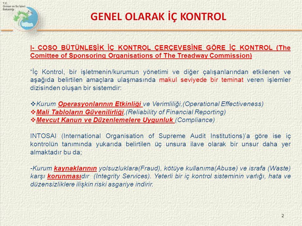 GENEL OLARAK İÇ KONTROL