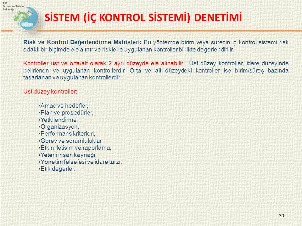 SİSTEM (İÇ KONTROL SİSTEMİ) DENETİMİ