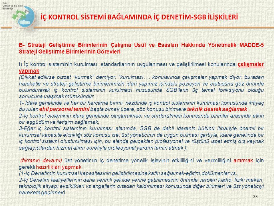 İÇ KONTROL SİSTEMİ BAĞLAMINDA İÇ DENETİM-SGB İLİŞKİLERİ