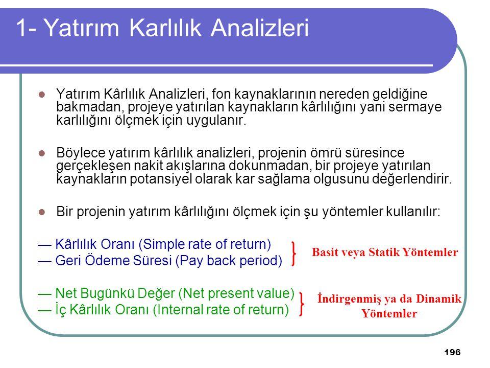 1- Yatırım Karlılık Analizleri