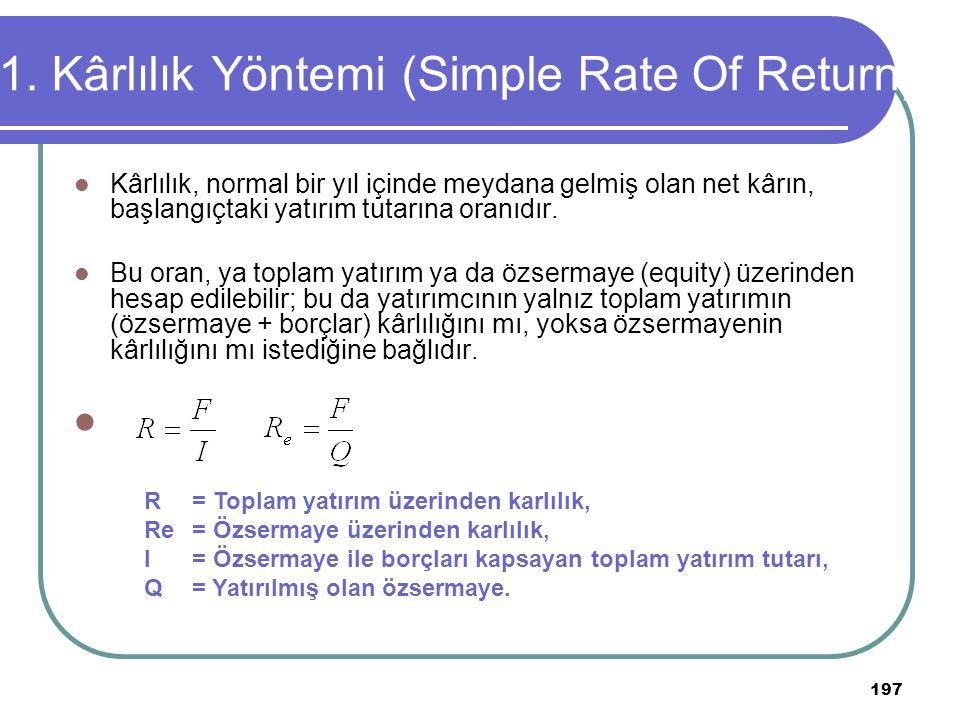 1. Kârlılık Yöntemi (Simple Rate Of Return)