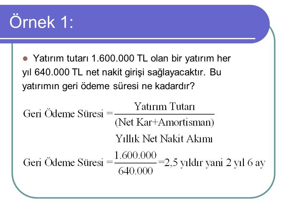 Örnek 1: Yatırım tutarı 1.600.000 TL olan bir yatırım her