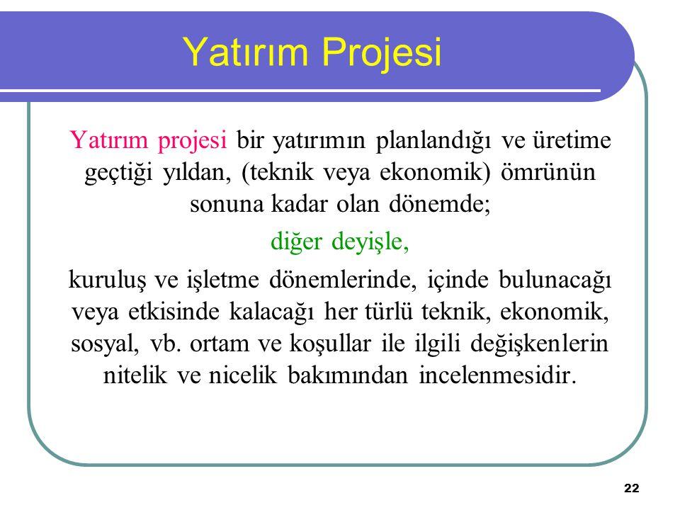 Yatırım Projesi Yatırım projesi bir yatırımın planlandığı ve üretime geçtiği yıldan, (teknik veya ekonomik) ömrünün sonuna kadar olan dönemde;