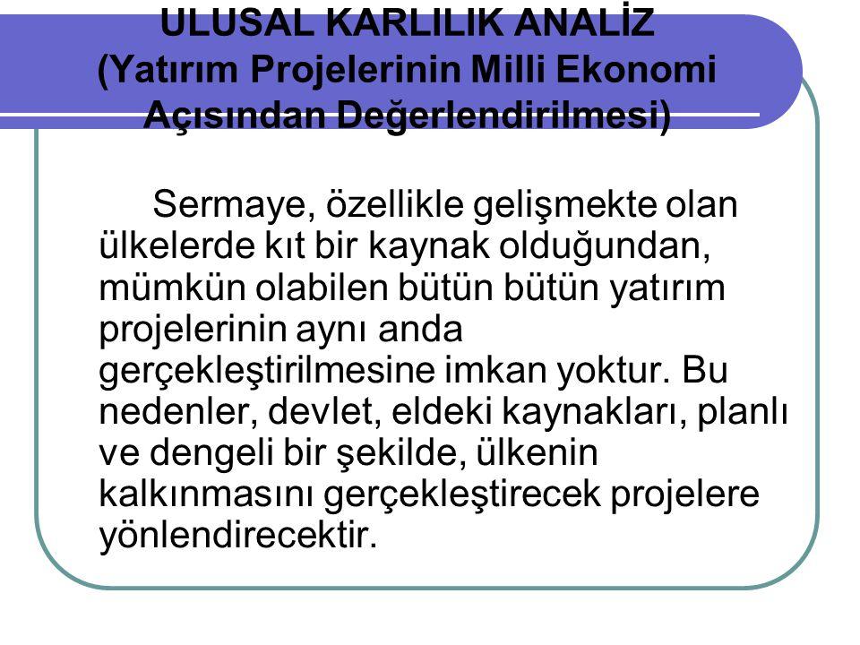 ULUSAL KARLILIK ANALİZ (Yatırım Projelerinin Milli Ekonomi Açısından Değerlendirilmesi)