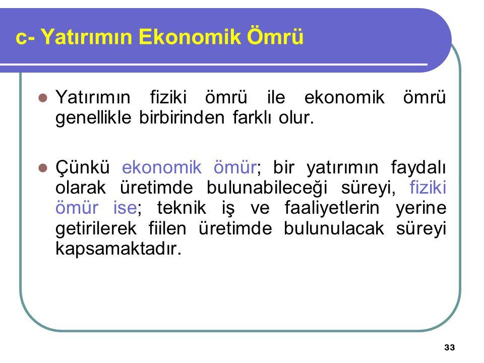 c- Yatırımın Ekonomik Ömrü