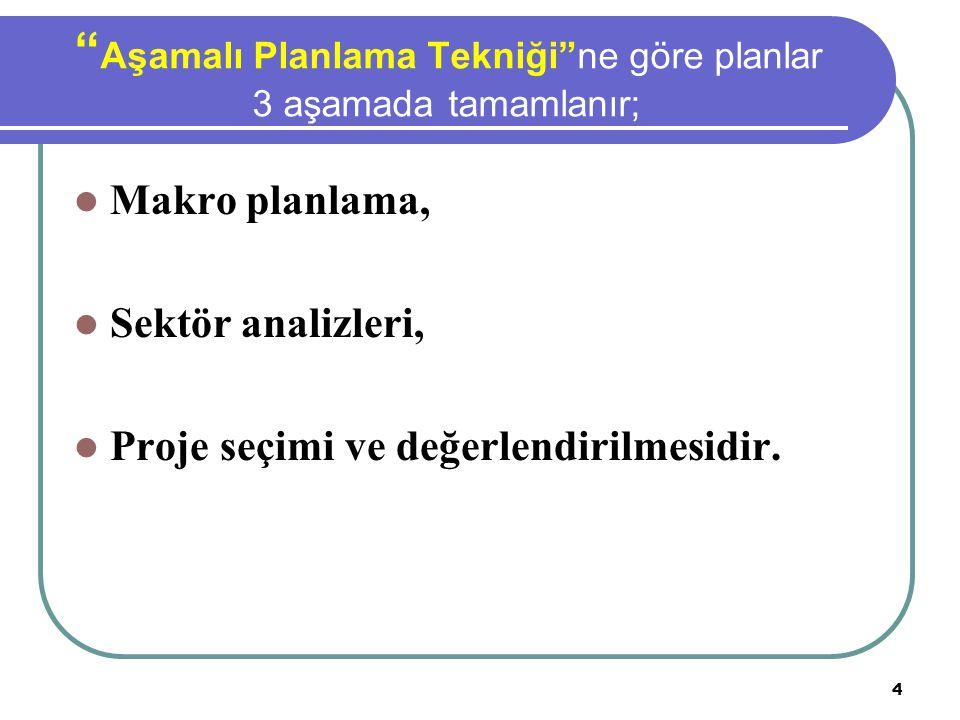 Aşamalı Planlama Tekniği ne göre planlar 3 aşamada tamamlanır;