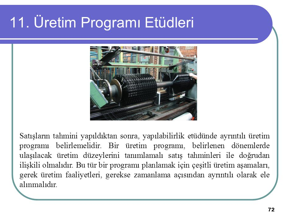 11. Üretim Programı Etüdleri