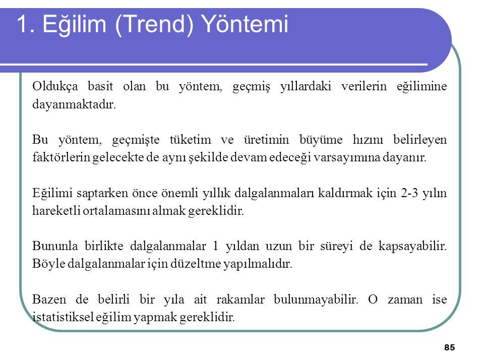 1. Eğilim (Trend) Yöntemi