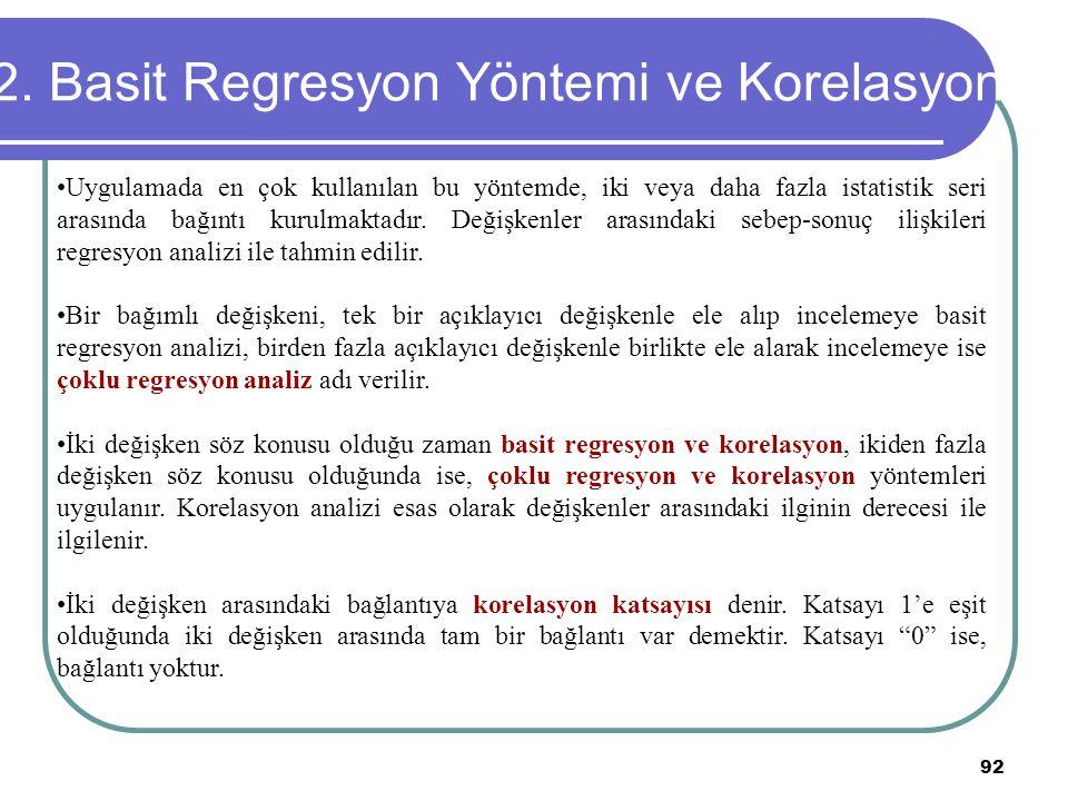 2. Basit Regresyon Yöntemi ve Korelasyon
