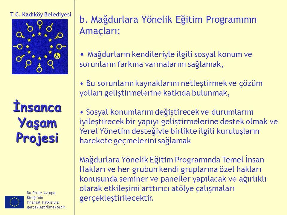 T.C. Kadıköy Belediyesi b. Mağdurlara Yönelik Eğitim Programının Amaçları: