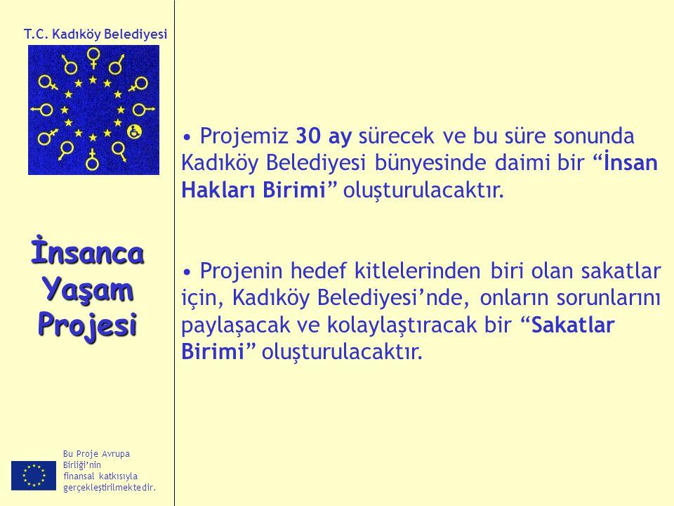 T.C. Kadıköy Belediyesi Projemiz 30 ay sürecek ve bu süre sonunda Kadıköy Belediyesi bünyesinde daimi bir İnsan Hakları Birimi oluşturulacaktır.