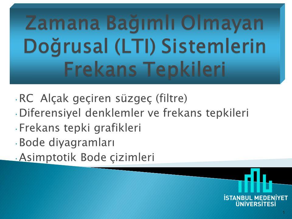 Zamana Bağımlı Olmayan Doğrusal (LTI) Sistemlerin Frekans Tepkileri