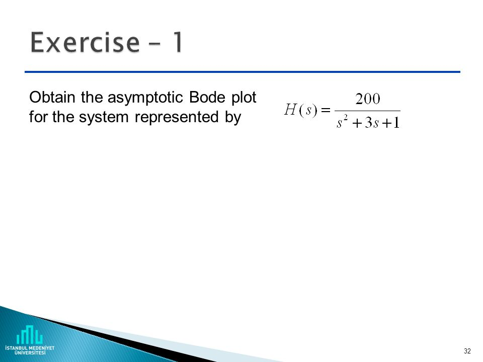 Exercise – 1 Obtain the asymptotic Bode plot for the system represented by
