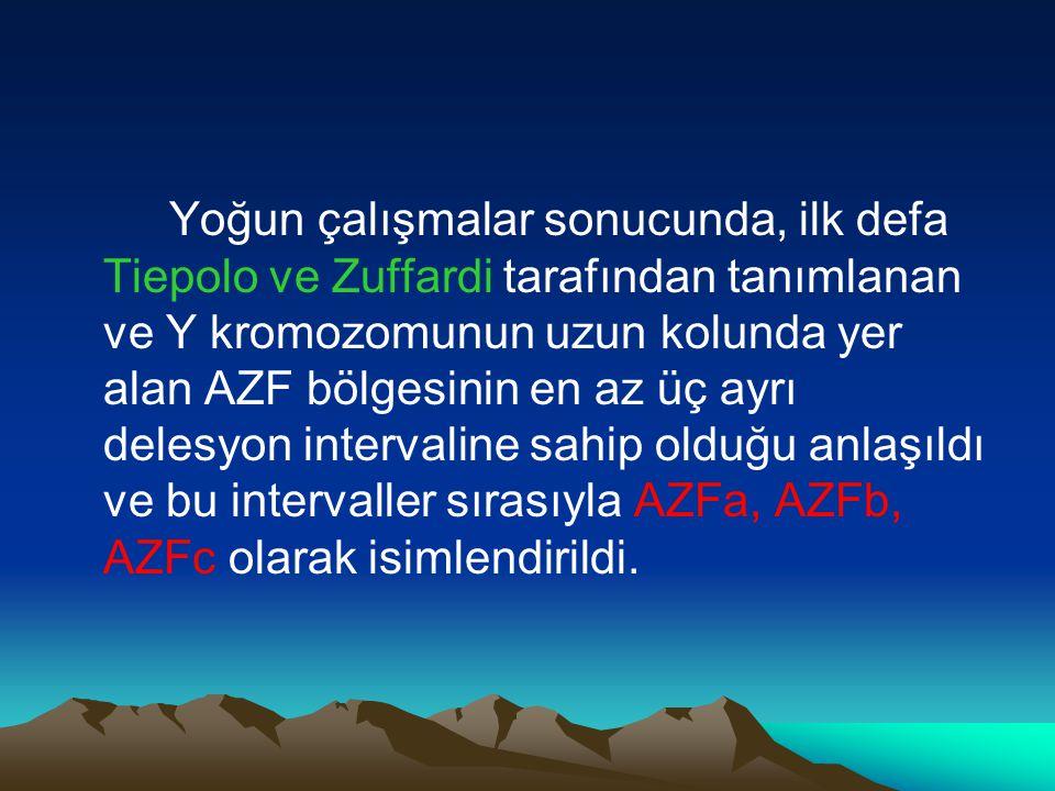 Yoğun çalışmalar sonucunda, ilk defa Tiepolo ve Zuffardi tarafından tanımlanan ve Y kromozomunun uzun kolunda yer alan AZF bölgesinin en az üç ayrı delesyon intervaline sahip olduğu anlaşıldı ve bu intervaller sırasıyla AZFa, AZFb, AZFc olarak isimlendirildi.