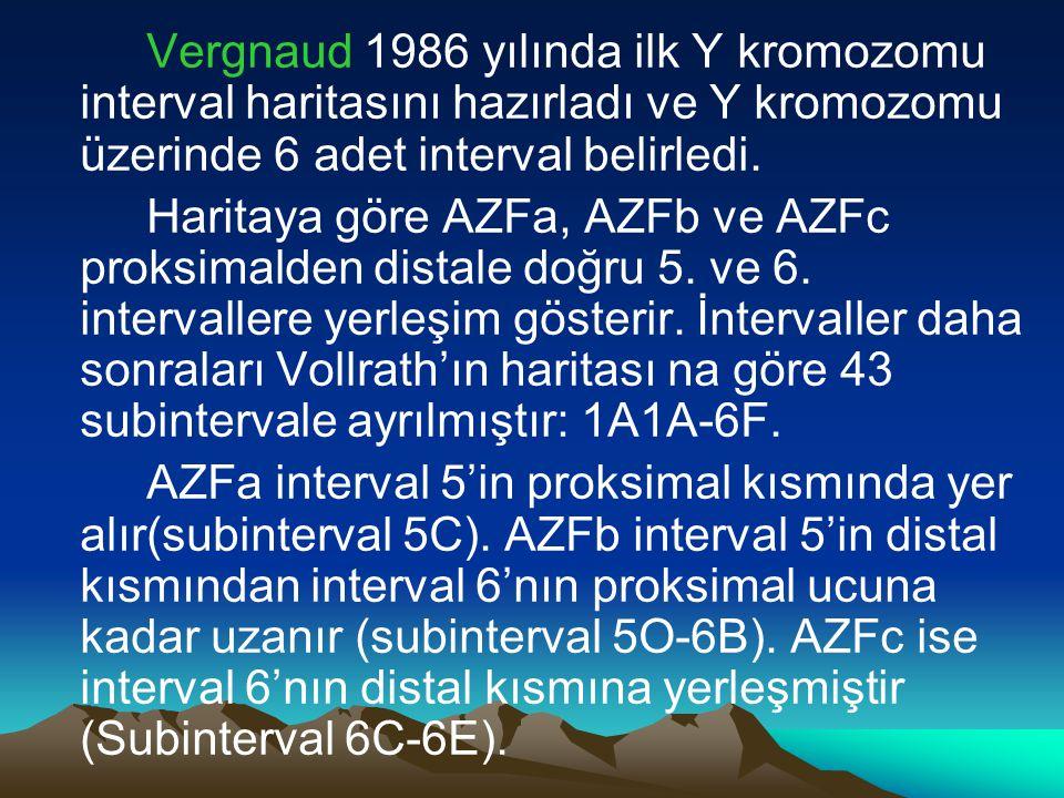 Vergnaud 1986 yılında ilk Y kromozomu interval haritasını hazırladı ve Y kromozomu üzerinde 6 adet interval belirledi.