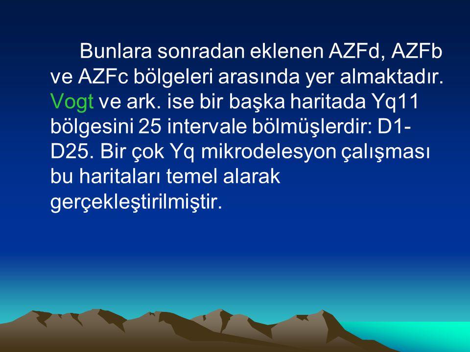 Bunlara sonradan eklenen AZFd, AZFb ve AZFc bölgeleri arasında yer almaktadır.