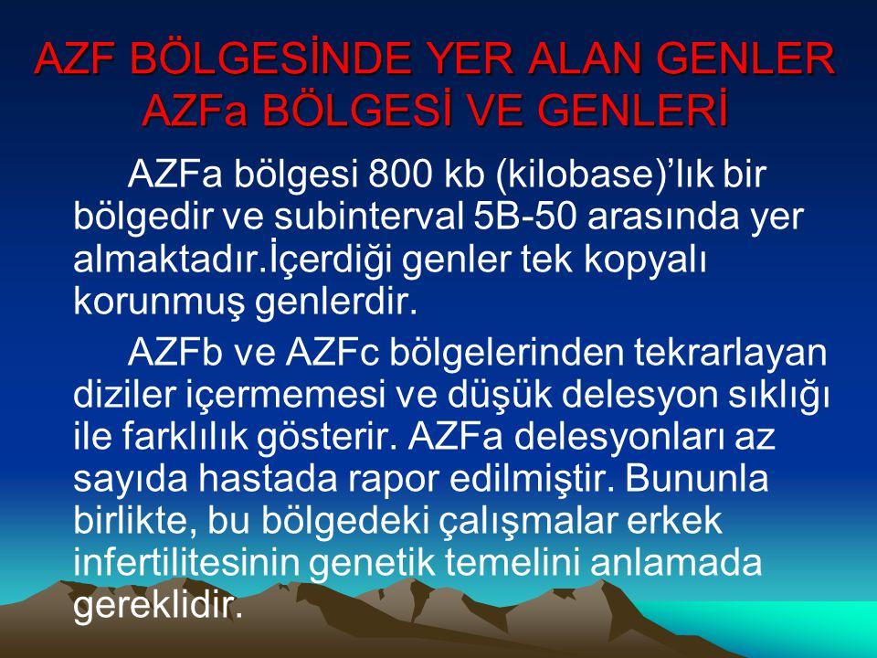 AZF BÖLGESİNDE YER ALAN GENLER AZFa BÖLGESİ VE GENLERİ