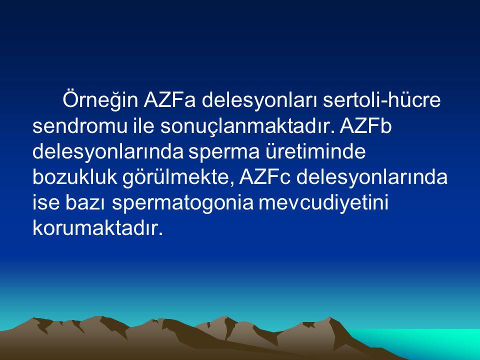 Örneğin AZFa delesyonları sertoli-hücre sendromu ile sonuçlanmaktadır