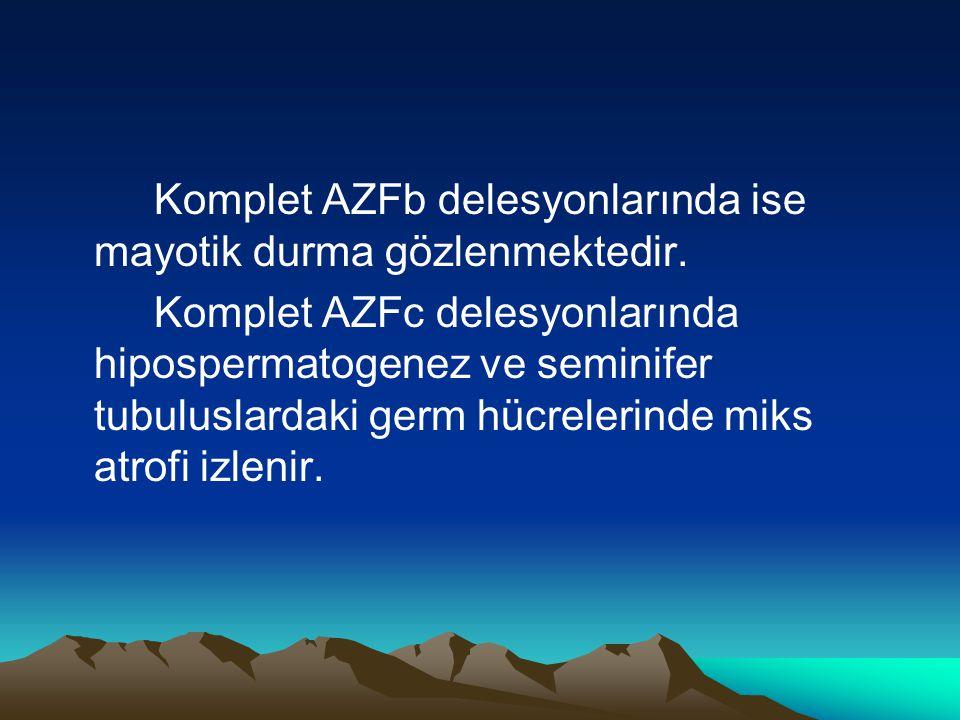 Komplet AZFb delesyonlarında ise mayotik durma gözlenmektedir.