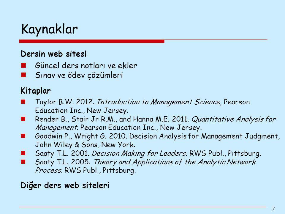 Kaynaklar Dersin web sitesi Güncel ders notları ve ekler