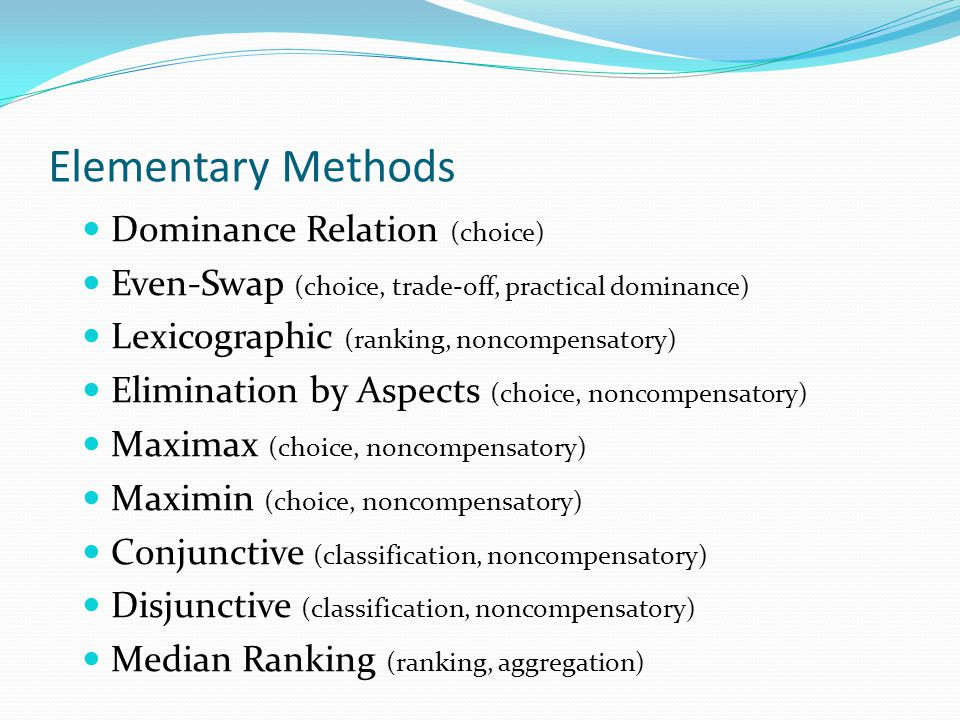 Elementary Methods Dominance Relation (choice)
