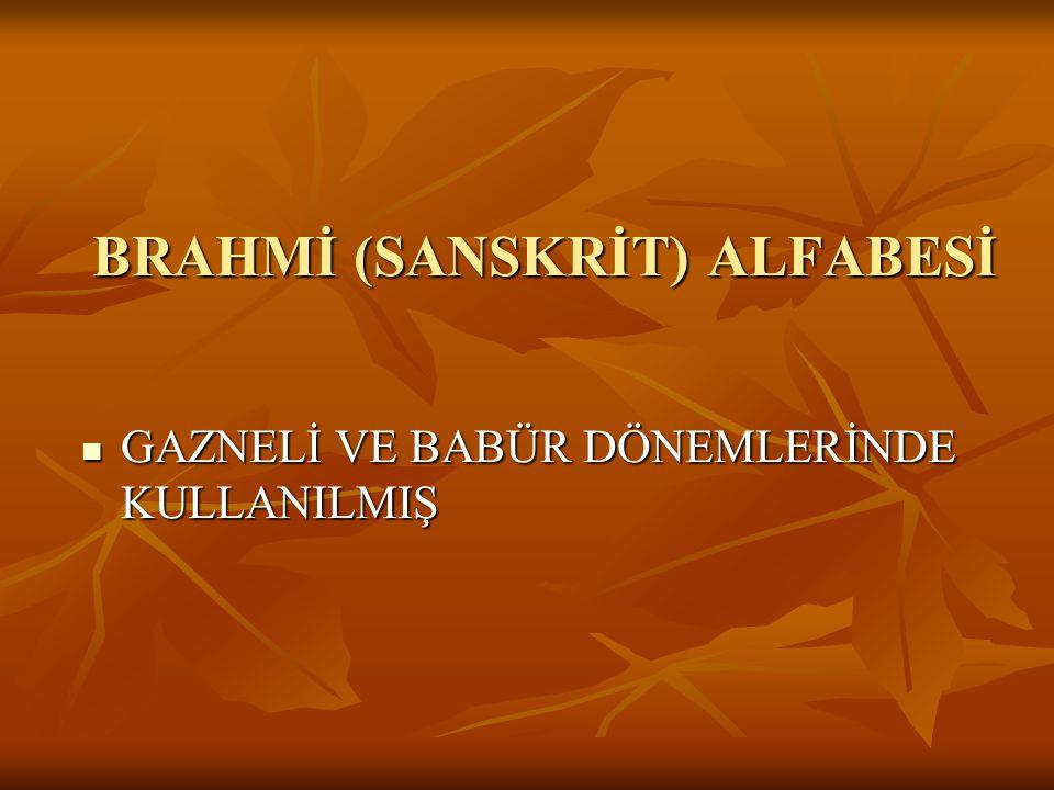 BRAHMİ (SANSKRİT) ALFABESİ