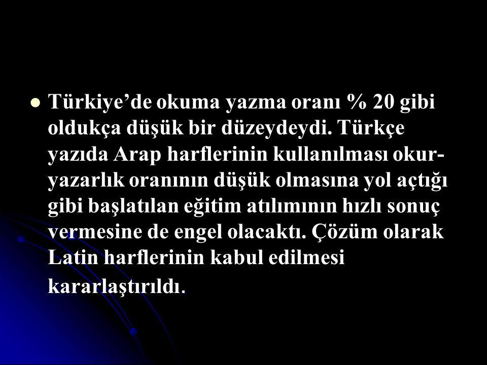Türkiye'de okuma yazma oranı % 20 gibi oldukça düşük bir düzeydeydi