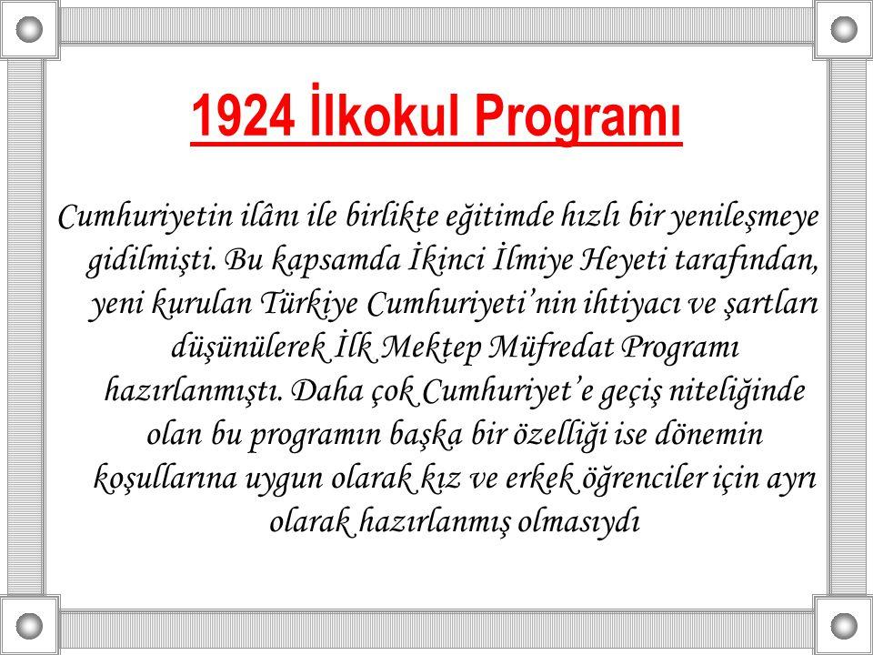 1924 İlkokul Programı