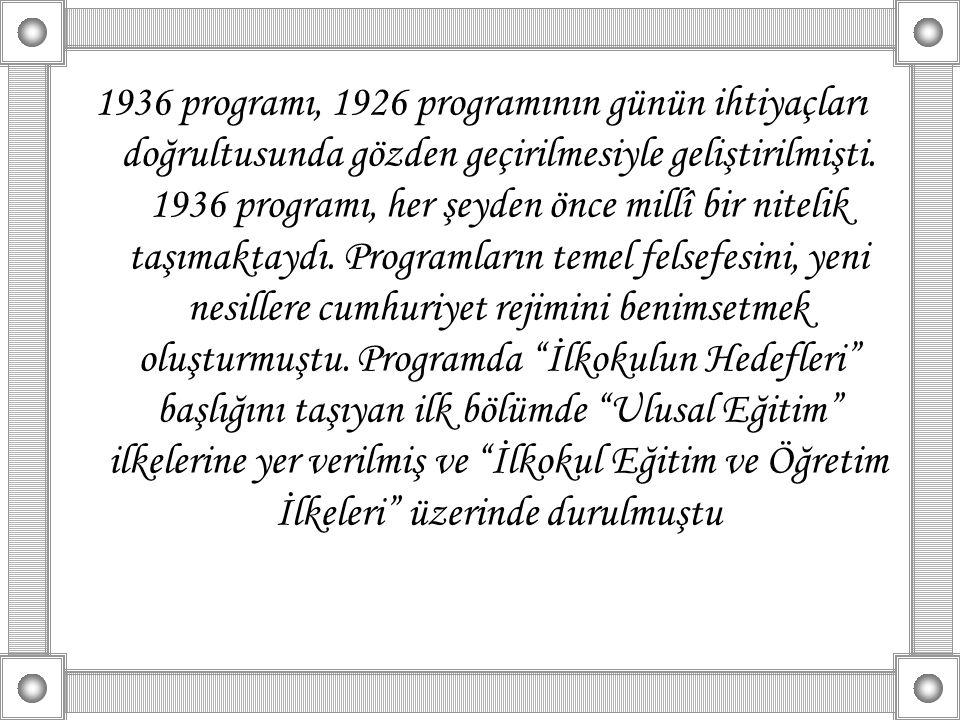 1936 programı, 1926 programının günün ihtiyaçları doğrultusunda gözden geçirilmesiyle geliştirilmişti.