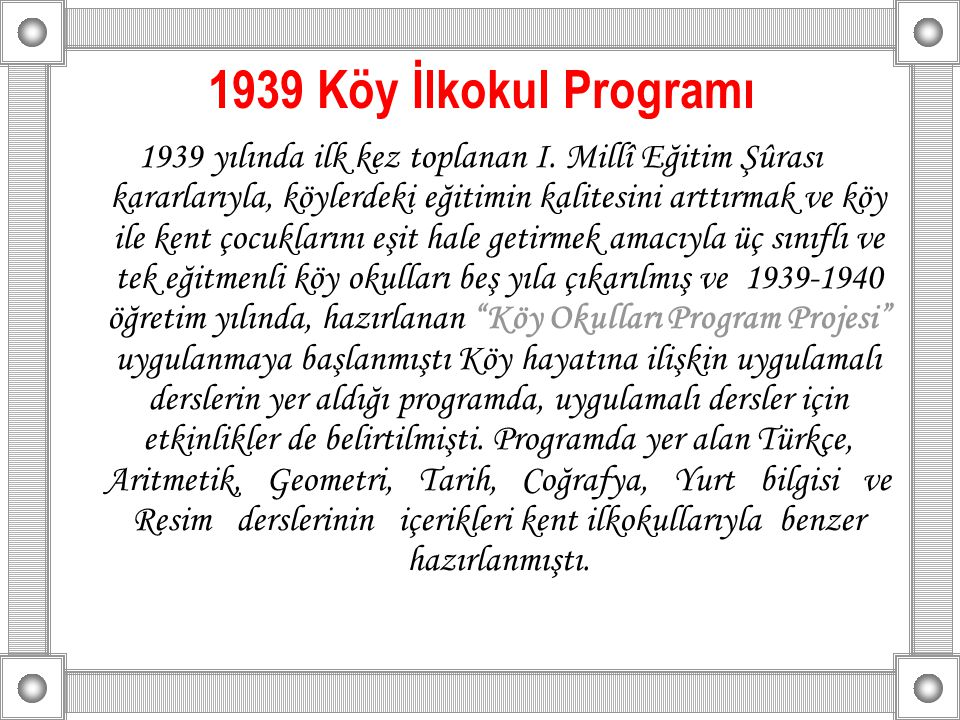 1939 Köy İlkokul Programı
