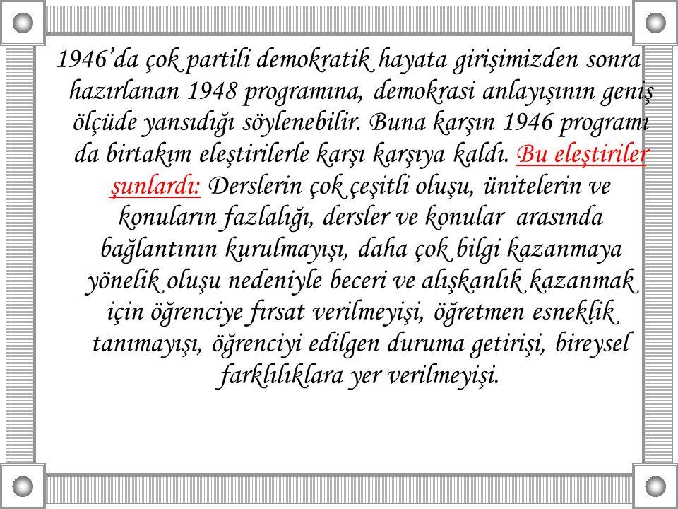 1946'da çok partili demokratik hayata girişimizden sonra hazırlanan 1948 programına, demokrasi anlayışının geniş ölçüde yansıdığı söylenebilir.