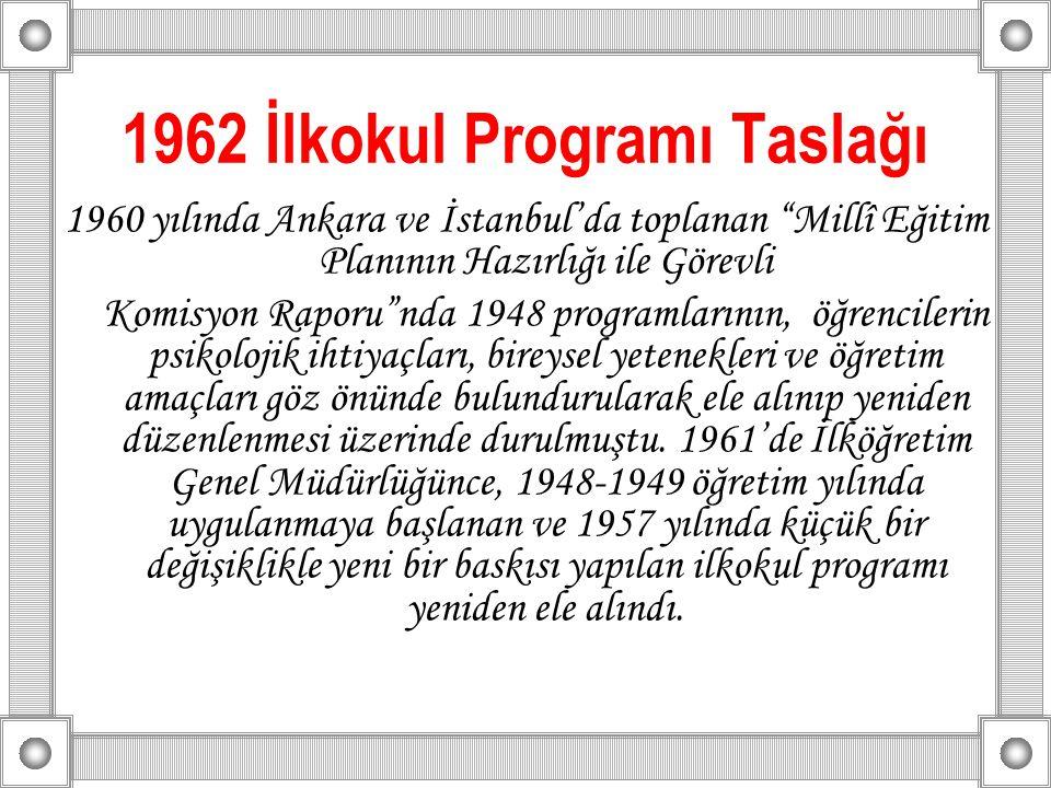 1962 İlkokul Programı Taslağı