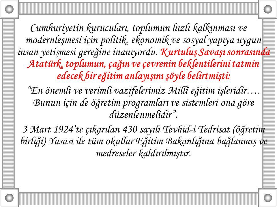 Cumhuriyetin kurucuları, toplumun hızlı kalkınması ve modernleşmesi için politik, ekonomik ve sosyal yapıya uygun insan yetişmesi gereğine inanıyordu. Kurtuluş Savaşı sonrasında Atatürk, toplumun, çağın ve çevrenin beklentilerini tatmin edecek bir eğitim anlayışını şöyle belirtmişti: