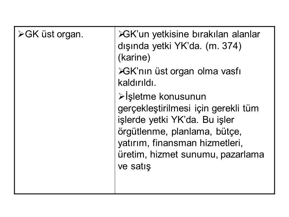 GK üst organ. GK'un yetkisine bırakılan alanlar dışında yetki YK'da. (m. 374) (karine) GK'nın üst organ olma vasfı kaldırıldı.