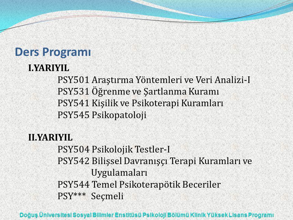 Ders Programı I.YARIYIL