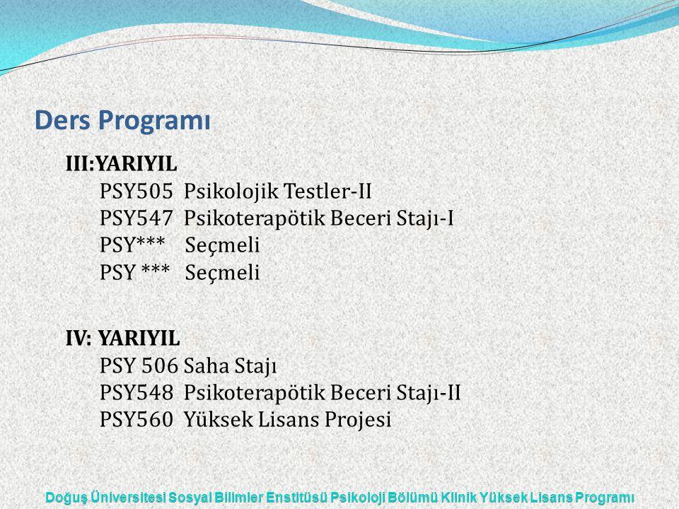 Ders Programı III:YARIYIL PSY505 Psikolojik Testler-II