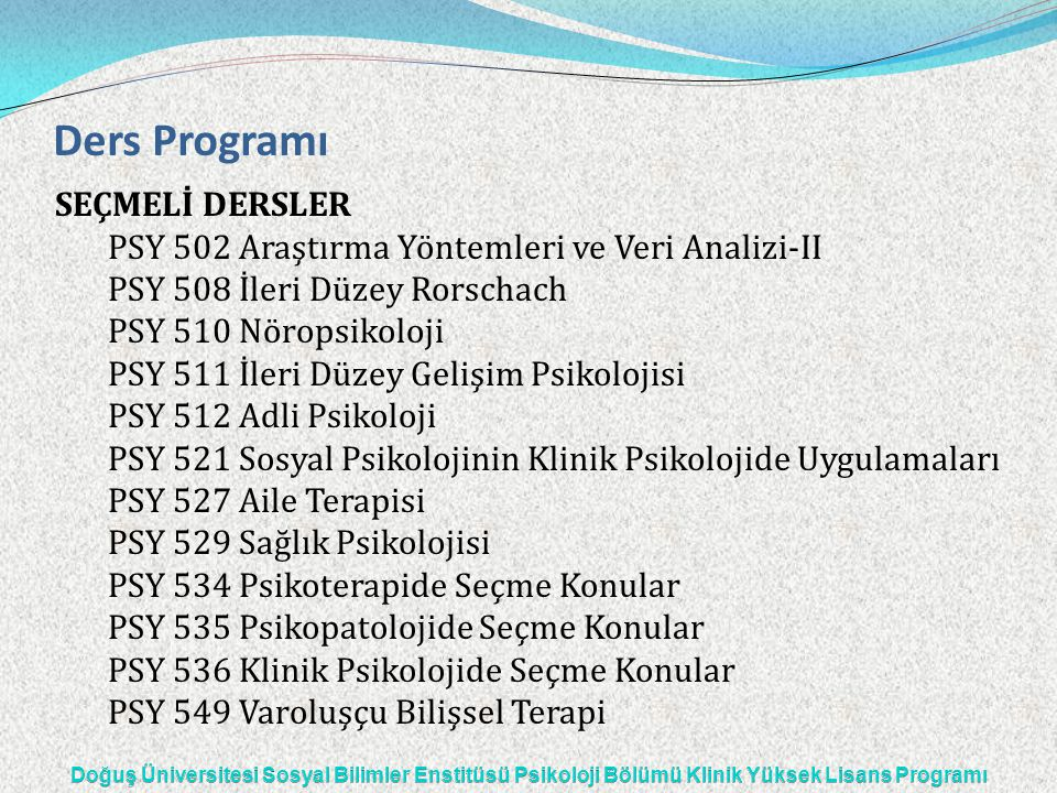 Ders Programı SEÇMELİ DERSLER