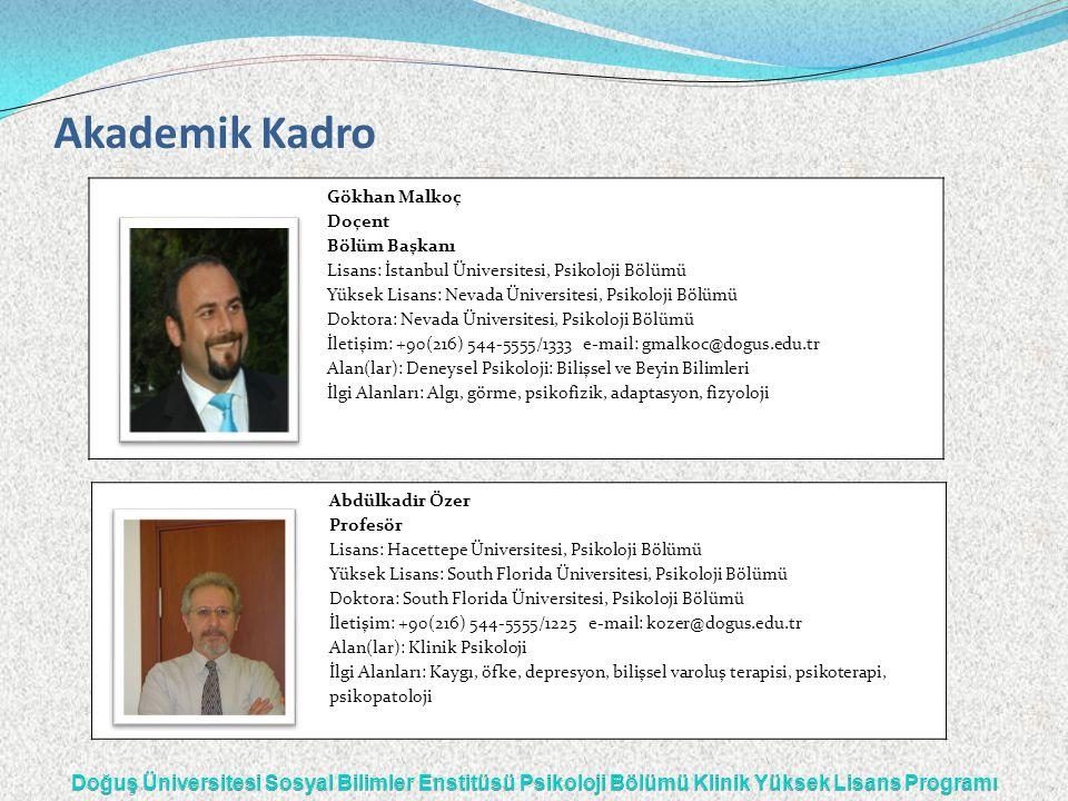 Akademik Kadro Gökhan Malkoç Doçent Bölüm Başkanı