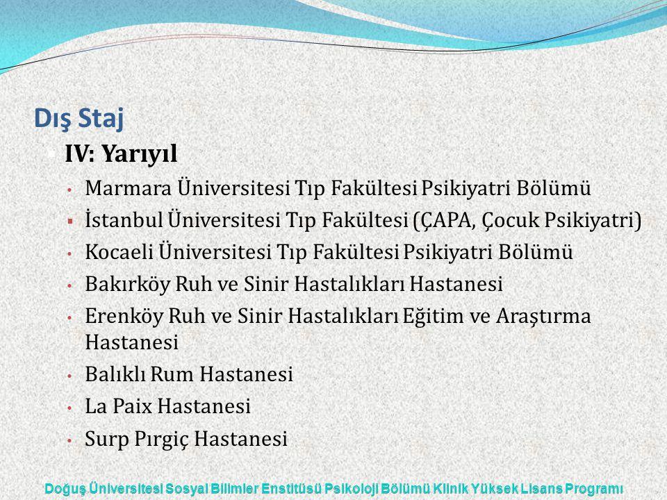 Dış Staj IV: Yarıyıl. Marmara Üniversitesi Tıp Fakültesi Psikiyatri Bölümü. İstanbul Üniversitesi Tıp Fakültesi (ÇAPA, Çocuk Psikiyatri)
