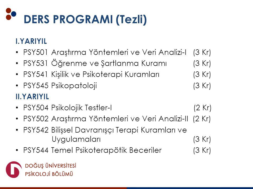 DERS PROGRAMI (Tezli) I.YARIYIL
