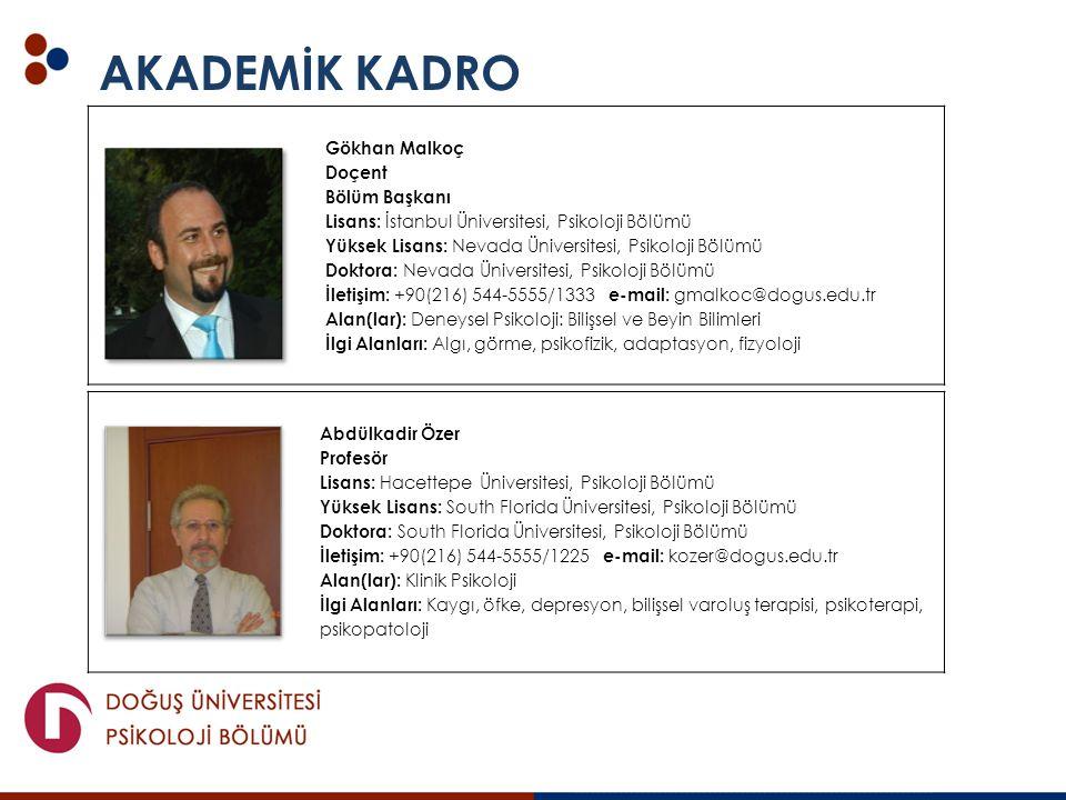 AKADEMİK KADRO Gökhan Malkoç Doçent Bölüm Başkanı