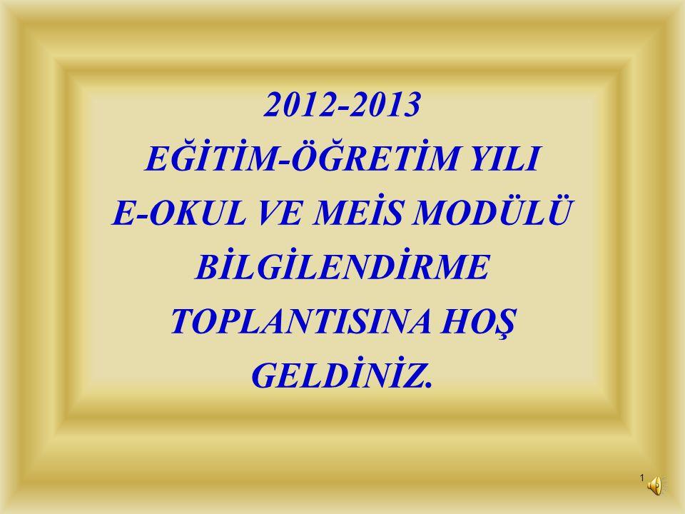 2012-2013 EĞİTİM-ÖĞRETİM YILI E-OKUL VE MEİS MODÜLÜ BİLGİLENDİRME TOPLANTISINA HOŞ GELDİNİZ.