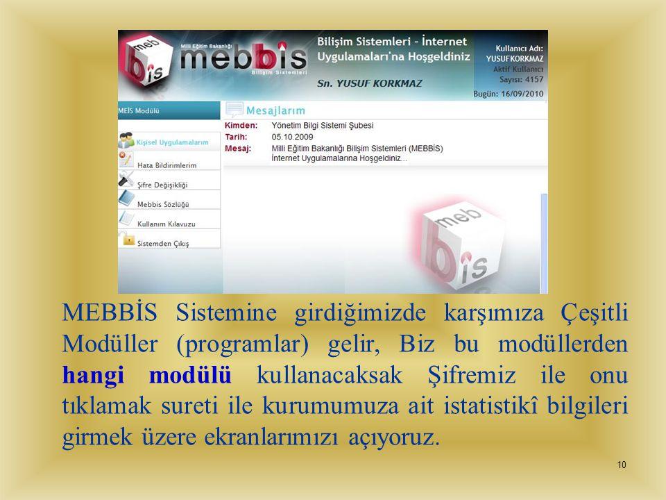 MEBBİS Sistemine girdiğimizde karşımıza Çeşitli Modüller (programlar) gelir, Biz bu modüllerden hangi modülü kullanacaksak Şifremiz ile onu tıklamak sureti ile kurumumuza ait istatistikî bilgileri girmek üzere ekranlarımızı açıyoruz.