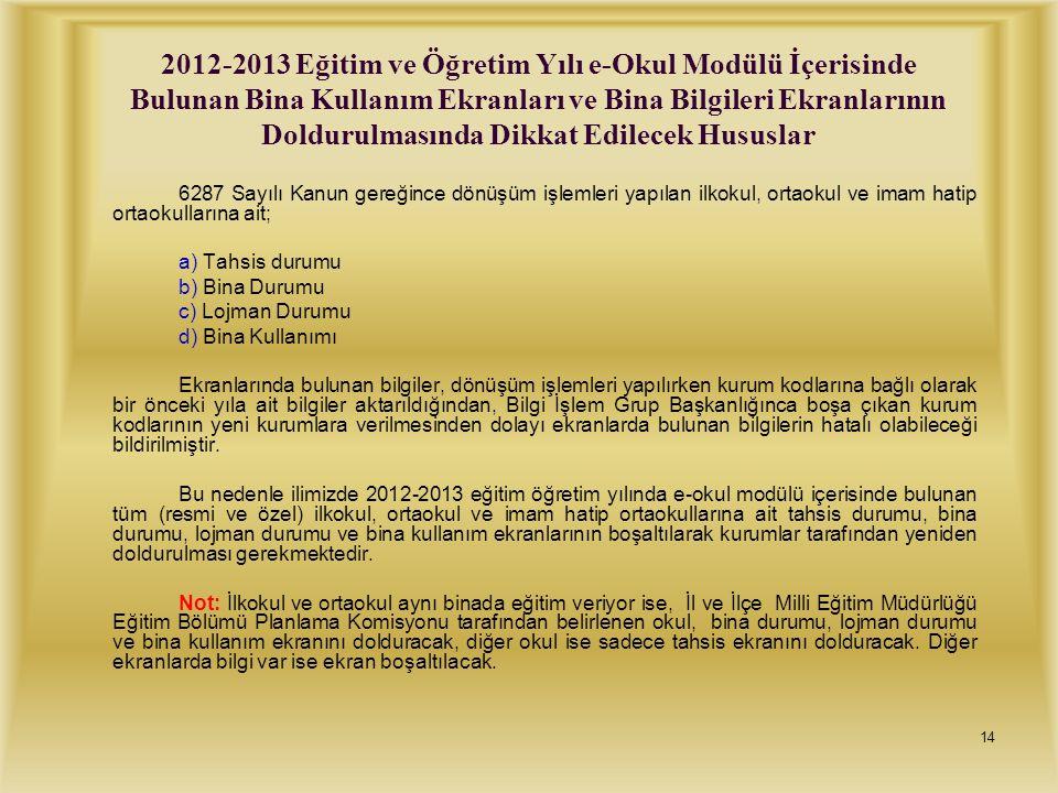 2012-2013 Eğitim ve Öğretim Yılı e-Okul Modülü İçerisinde Bulunan Bina Kullanım Ekranları ve Bina Bilgileri Ekranlarının Doldurulmasında Dikkat Edilecek Hususlar