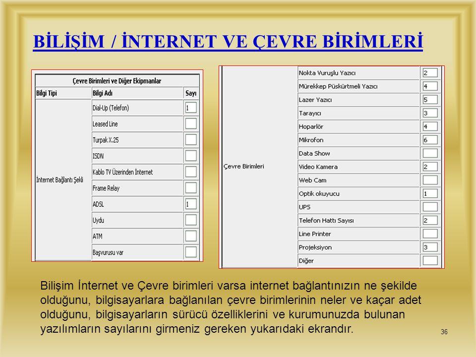 BİLİŞİM / İNTERNET VE ÇEVRE BİRİMLERİ