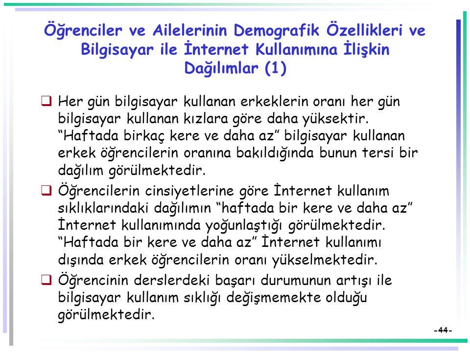 Öğrenciler ve Ailelerinin Demografik Özellikleri ve Bilgisayar ile İnternet Kullanımına İlişkin Dağılımlar (1)