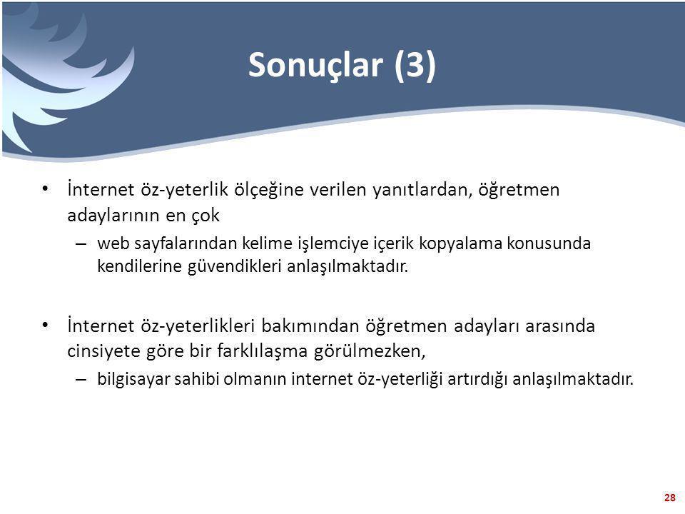Sonuçlar (3) İnternet öz-yeterlik ölçeğine verilen yanıtlardan, öğretmen adaylarının en çok.