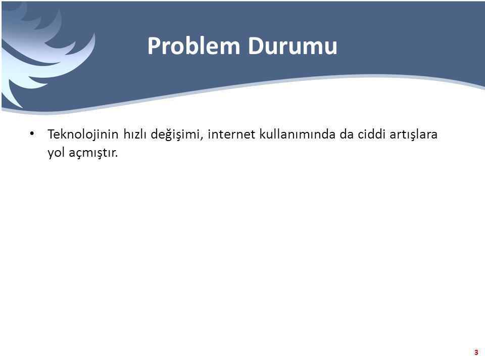 Problem Durumu Teknolojinin hızlı değişimi, internet kullanımında da ciddi artışlara yol açmıştır.